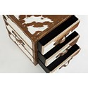Jofran Global Archive Hair-on-Hide Accent Chest - Table Top and Drawers Detail Shot
