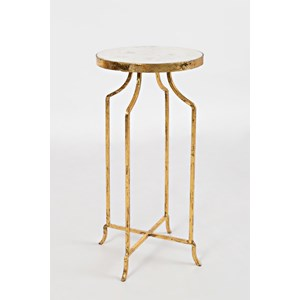 Marble and Gold Round Accent Table