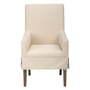 Jofran Hampton Slipcovered Dining Chair with Arm Rests
