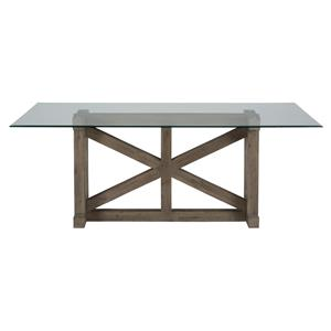 Jofran Hampton Hampton Sandblasted Table with Glass Top