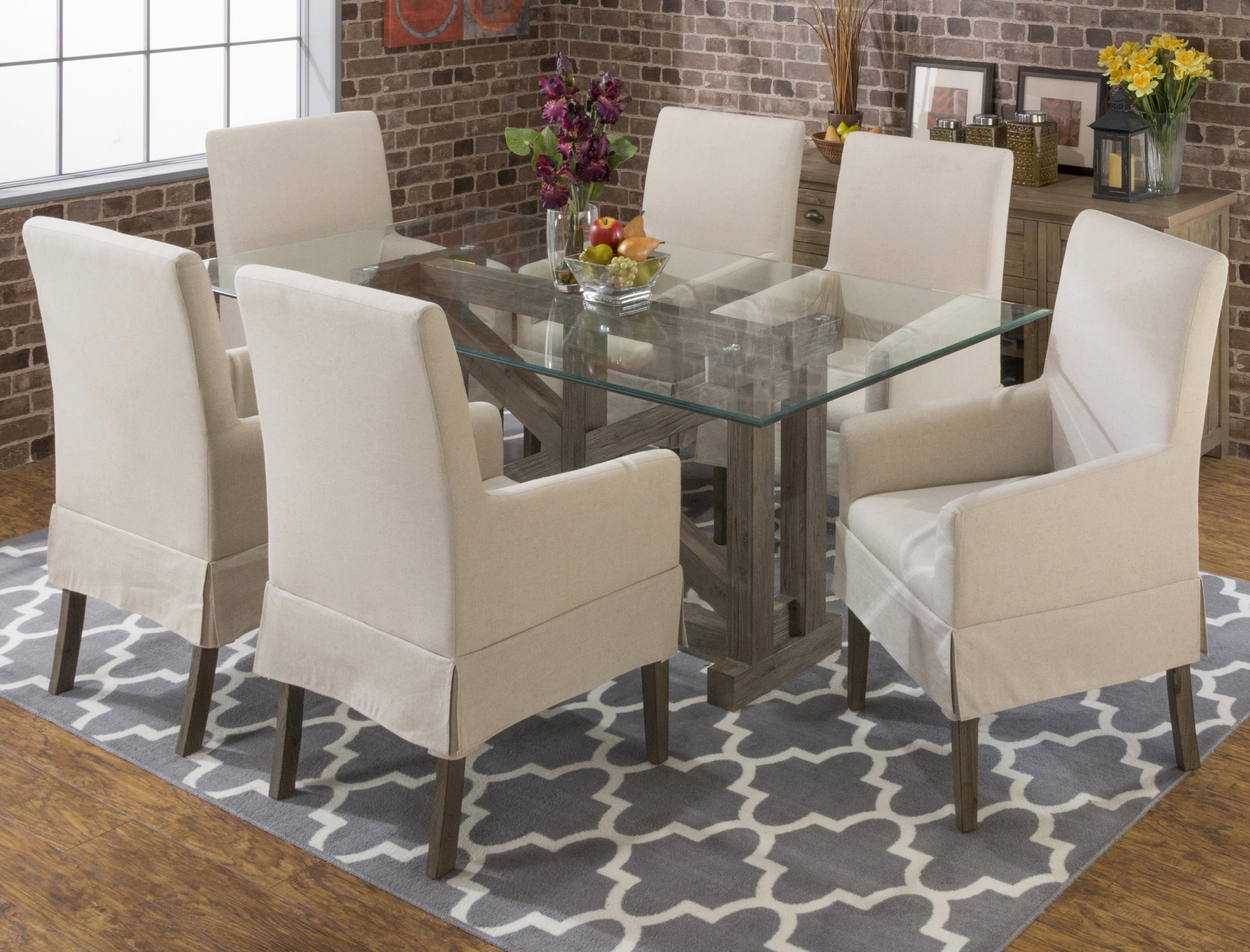 Jofran Hampton Sandblasted Table and Chair Set - Item Number: 872-78B-78G+6x147KD