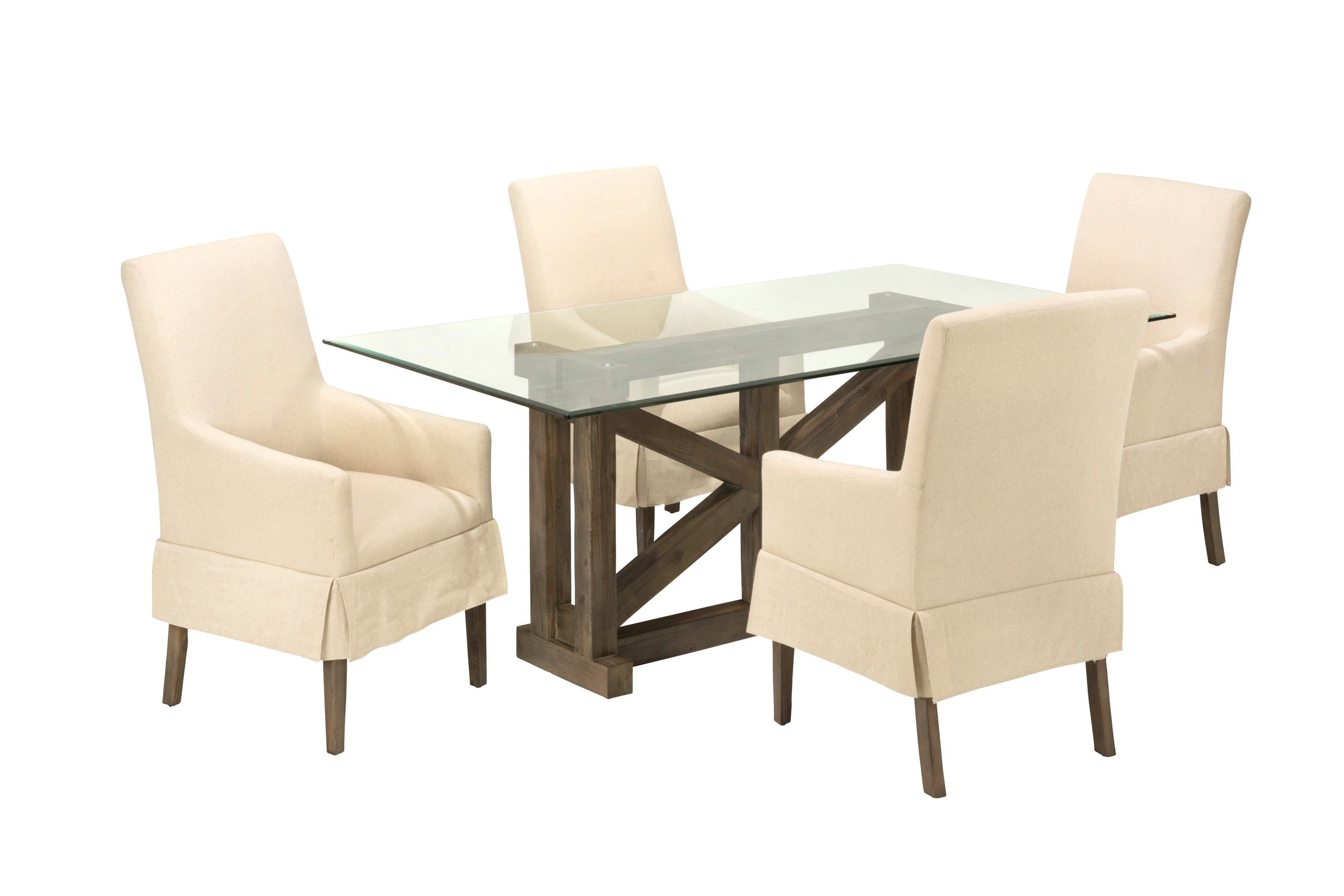 Glass Top Table with Four Chairs
