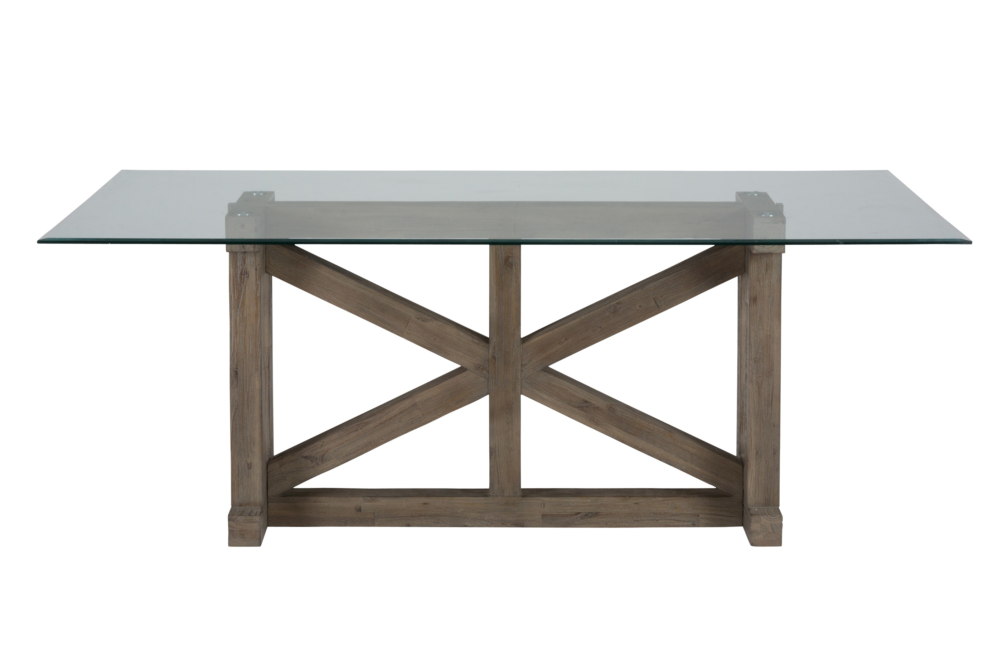 Trestle Dining Table with Glass Top