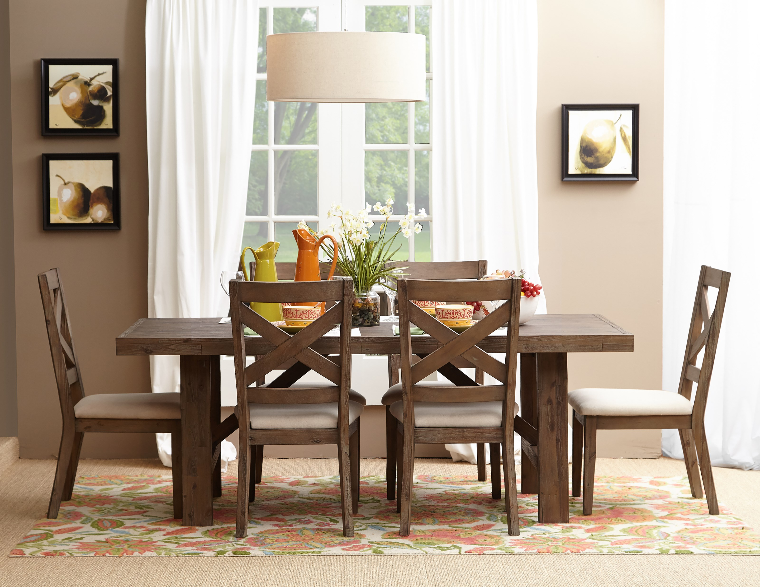 Jofran Hampton Road Trestle Dining Table And Chair Set   Item Number: 872 79