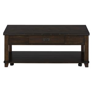 Jofran Cassidy Brown Plank Top Cocktail Table with Pull Thru Draw