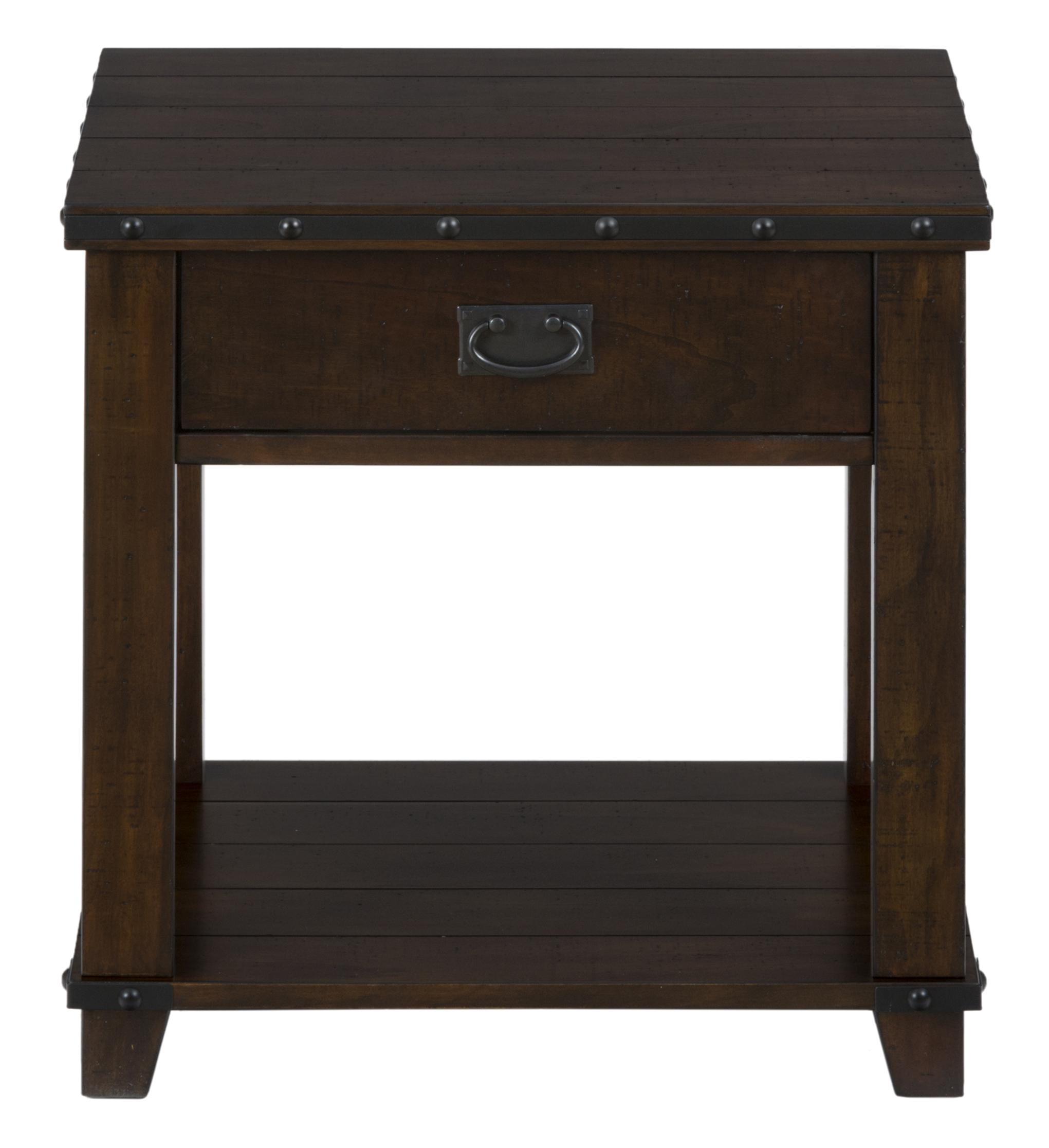Jofran Cassidy Brown Plank Top End Table with Drawer and Shelf - Item Number: 561-3