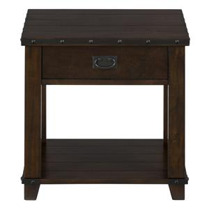 Jofran Cassidy Brown Plank Top End Table with Drawer and Shelf