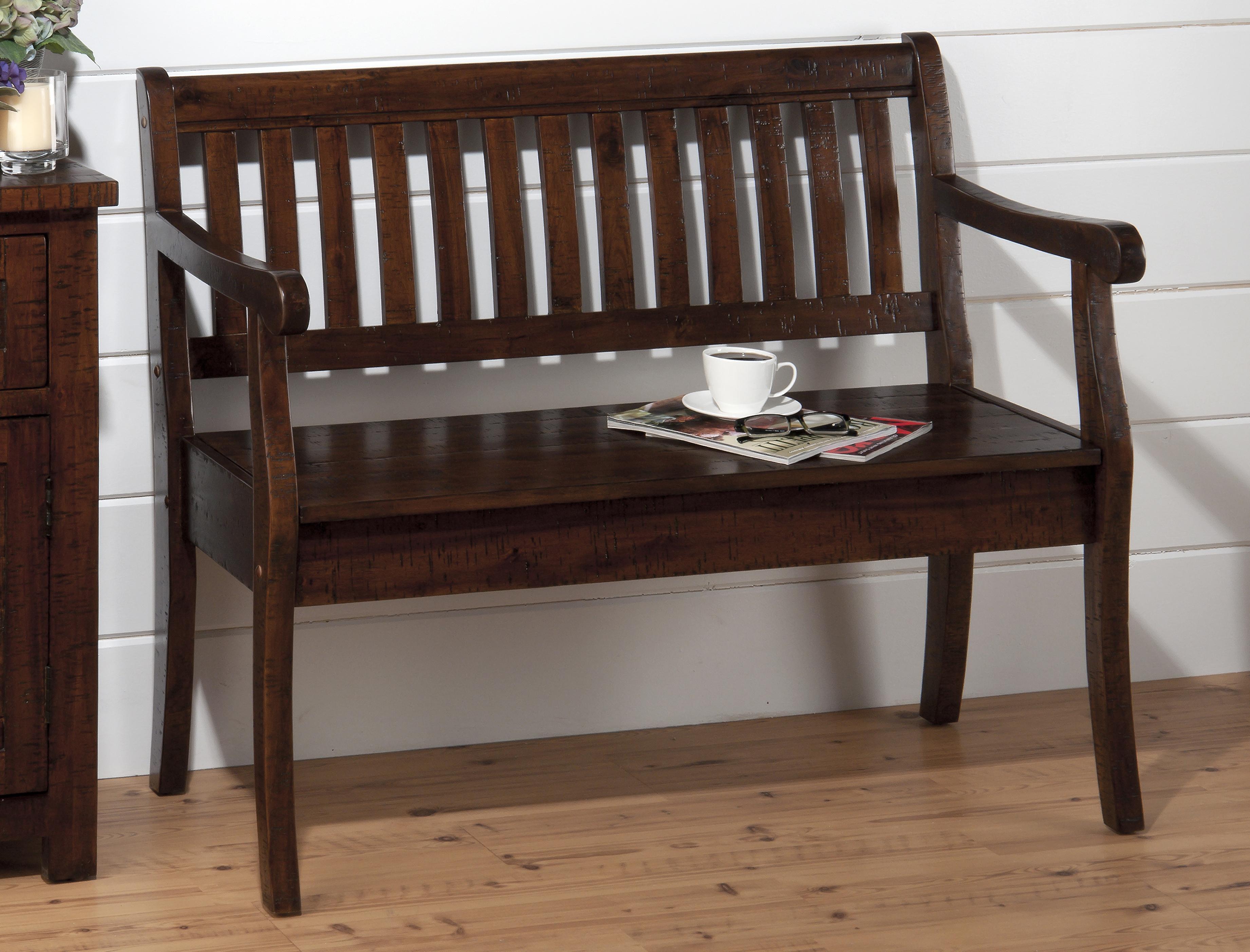 Jofran Urban Lodge Brown Storage Bench With Slat Back Dream Home Furniture Bench