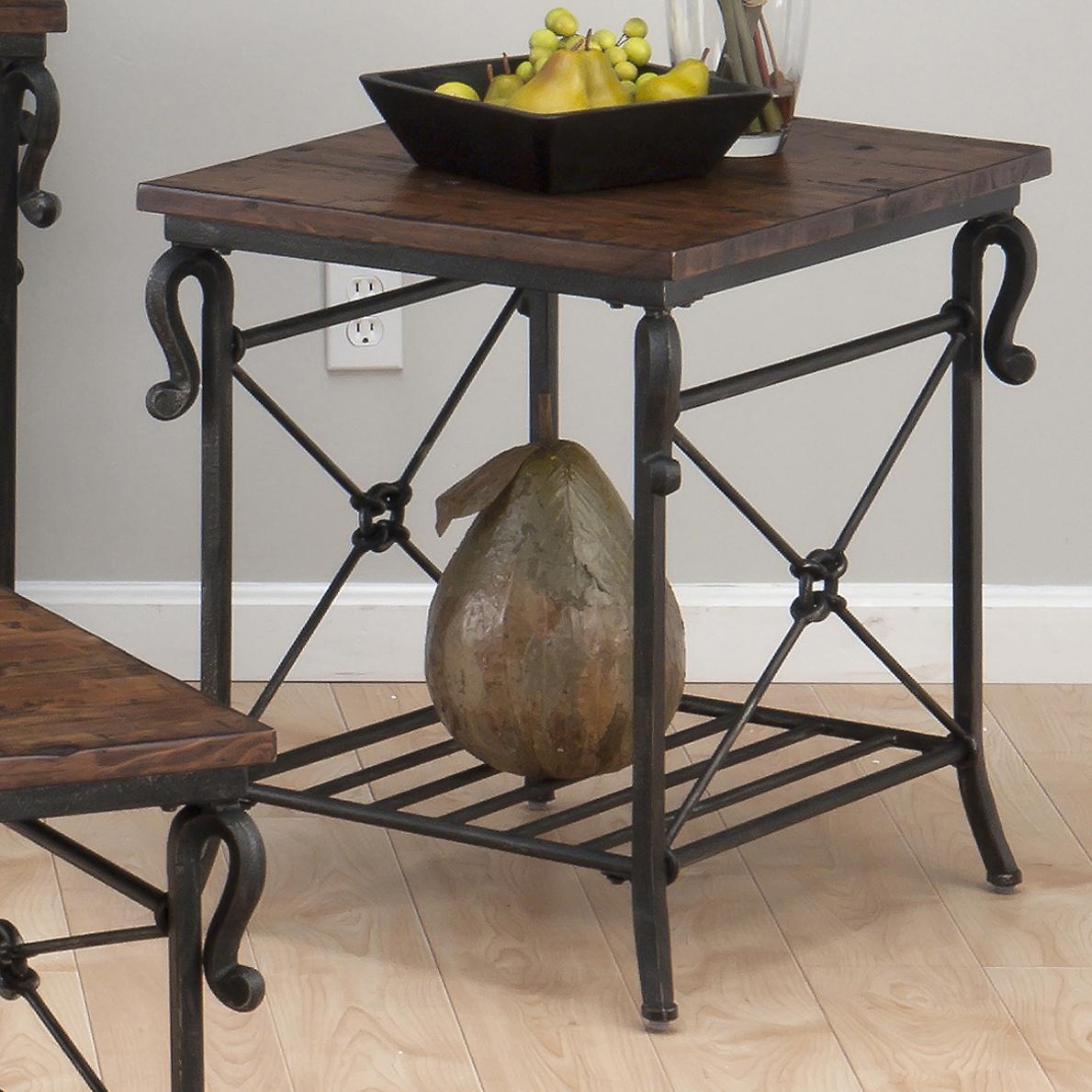 Jofran Rutledge Pine Rectangular End Table With Metal Slat Shelf Westrich Furniture Appliances End Table