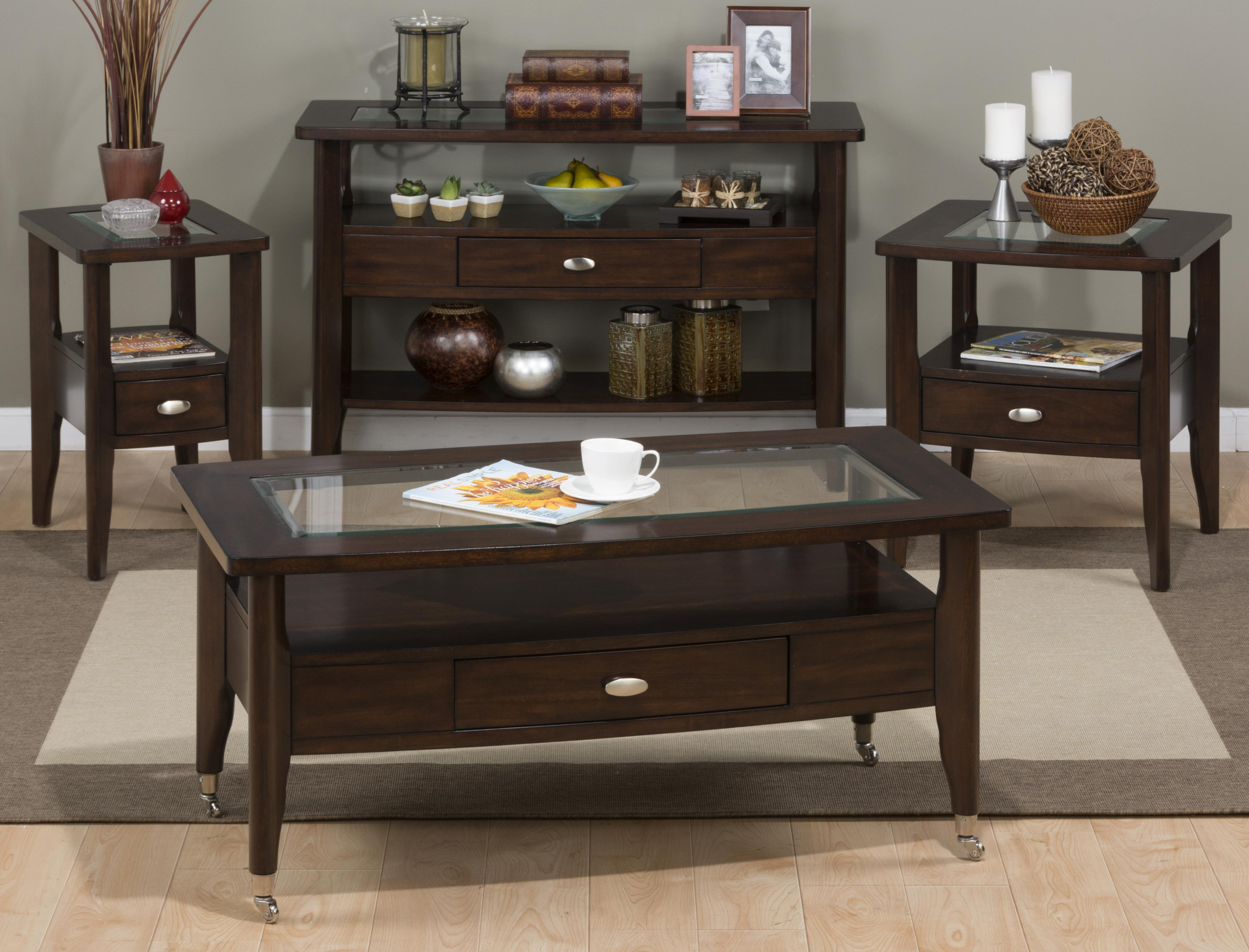 Jofran Montego Merlot 827 7 Chairside Table With Glass Top Furniture And Appliancemart End Table