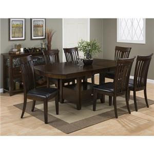 Jofran Mirandela Birch Storage Dining Table U0026 6 Slat Back Side Chai