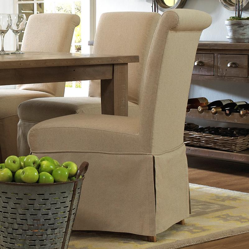 Belfort Essentials Slater Mill Pine Slipcover Skirted Parson Chair   Item  Number: 941 162KD