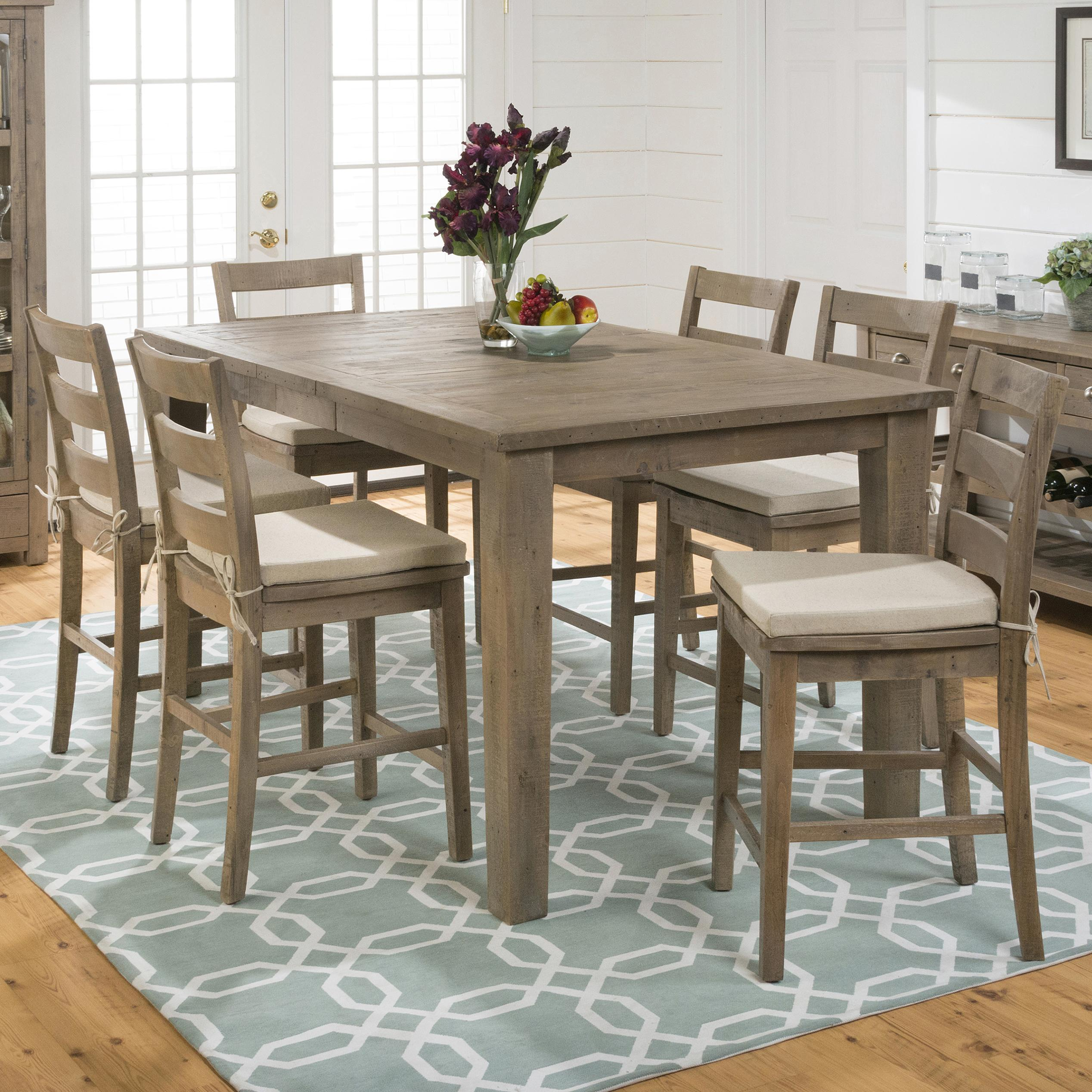 Jofran Slater Mill Pine 7-Piece Dining Set - Item Number: 941-42+6xBS538KD+6xCUSHION-941