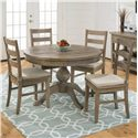 Jofran Slater Mill Pine Three Rung Ladderback Dining Side Chairs with Cushions - 941-538KD+CUSHION-941
