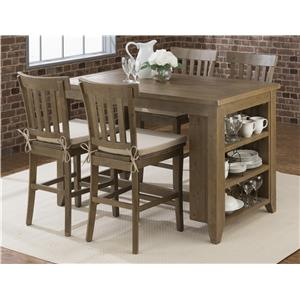 Counter Height Storage Table with Stool Set