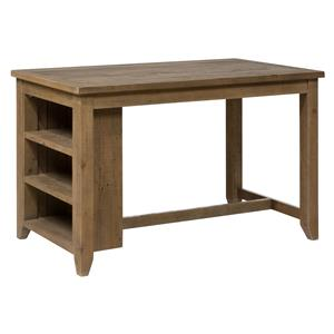 Jofran Slater Mill Pine Counter Height Table with 3 Shelf Storage