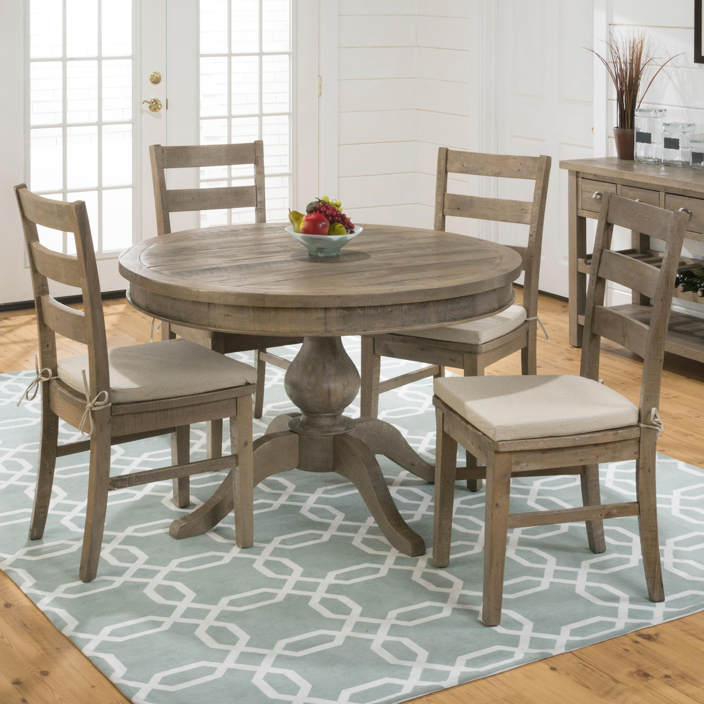 5 Chair Dining Set: Belfort Essentials Slater Mill Pine Round Table And