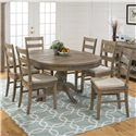 Jofran Slater Mill Pine Reclaimed Pine Round to Oval Dining Table - Shown With Leaf