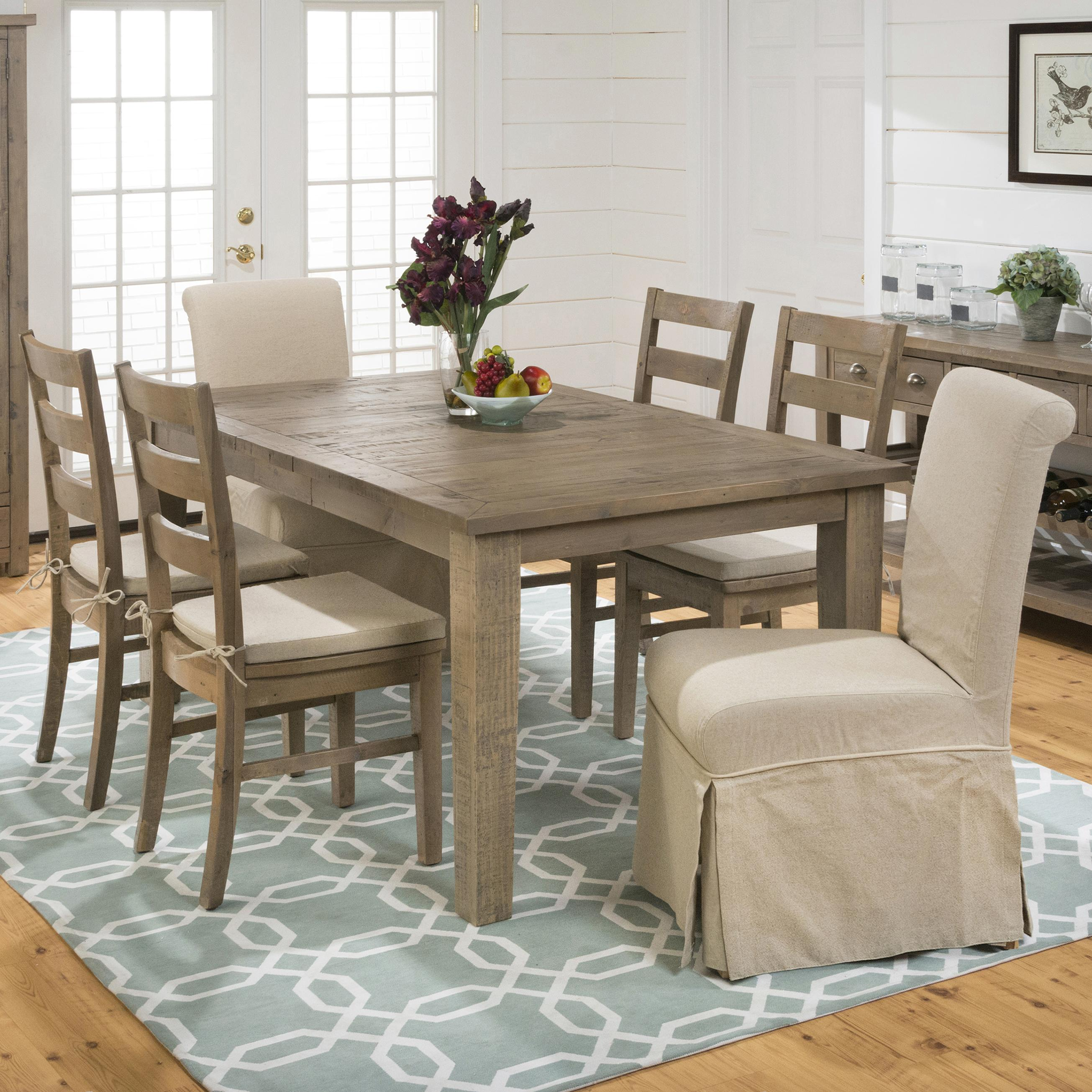 Jofran Slater Mill Pine Table and Chair Set - Item Number: 941-72+2x162KD+4x538KD+4xCUS-941
