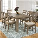 Jofran Bancroft Mills 7PC DiningTable and Chair Set - Item Number: 941-72+6x538KD+6xCUSHION-941