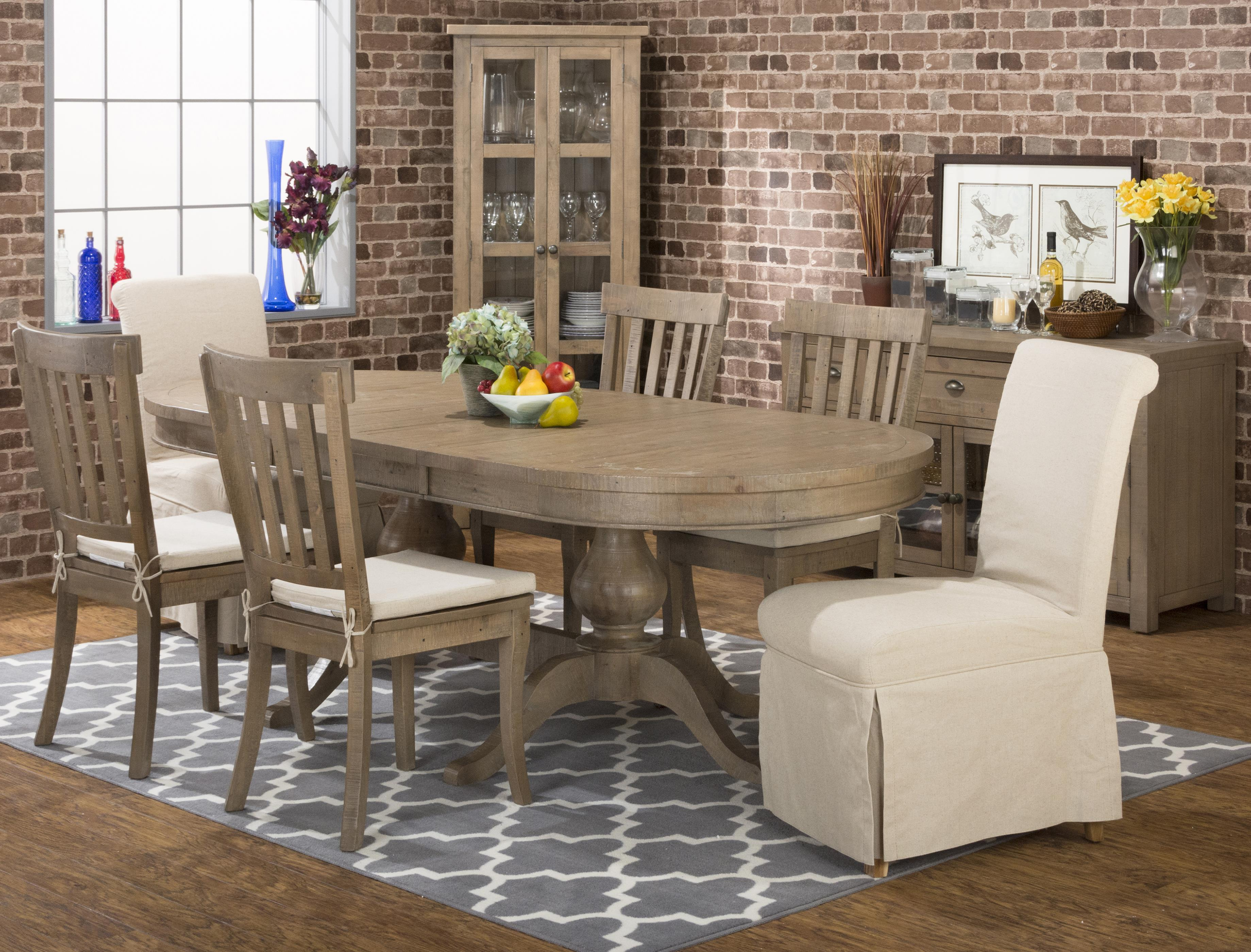 Jofran Slater Mill Pine Casual Oval Table Set Rooms For Less - Oval trestle dining table