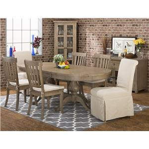 Jofran Slater Mill Pine Casual Oval Table Set
