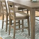 Jofran Slater Mill Pine Three Rung Ladderback Stool With Seat Cushion - 941-BS538KD+ CUSHION-941