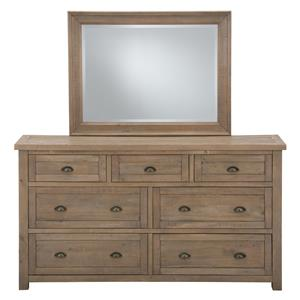 Jofran Slater Mill Pine Dresser and Mirror Set