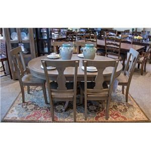 Jofran Slater Mill Pine Round/Oval Pedestal Table & 6 Side Chairs
