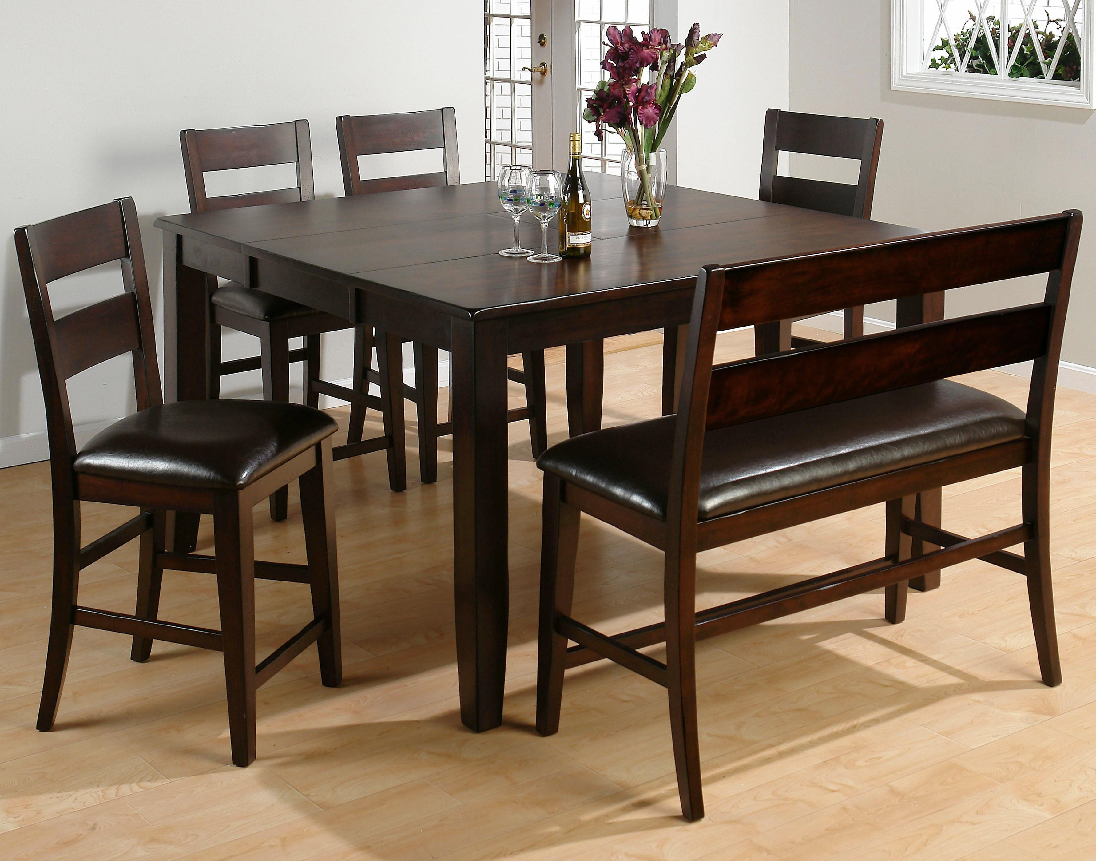 Jofran Dark Rustic Prairie 5-Piece Counter Height Butterfly Leaf Table - Item Number: 972-60+BS761KD+BS19KD