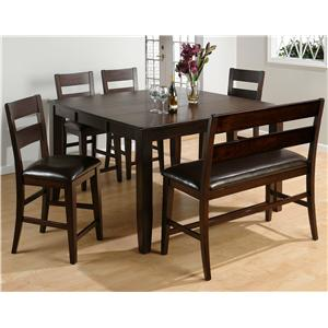 Jofran Dark Rustic Prairie 6-Piece Counter Height Set