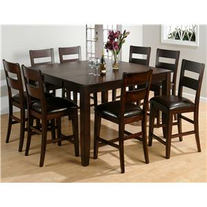 Jofran Dark Rustic Prairie 9-Piece Counter Height Set