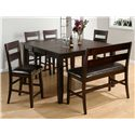 Jofran Dark Rustic Prairie Counter Height Butterfly Leaf Dining Table with Hand Hewn Corners, Burnished Edges and Rugged Scale