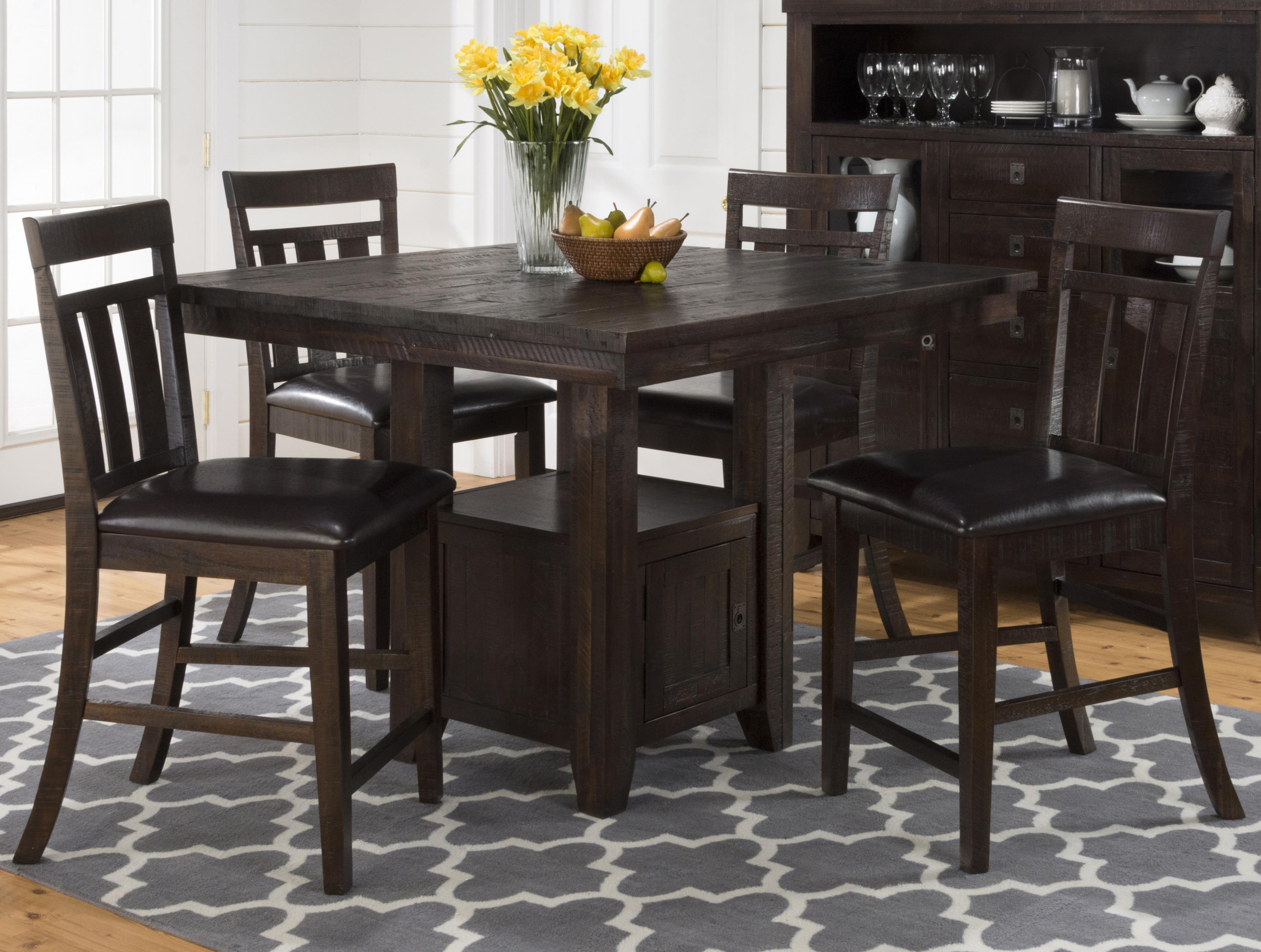 Jofran Kona Grove Pub Table with Storage Base and Chairs Set - Item Number: 705-48+4x705-BS410KD