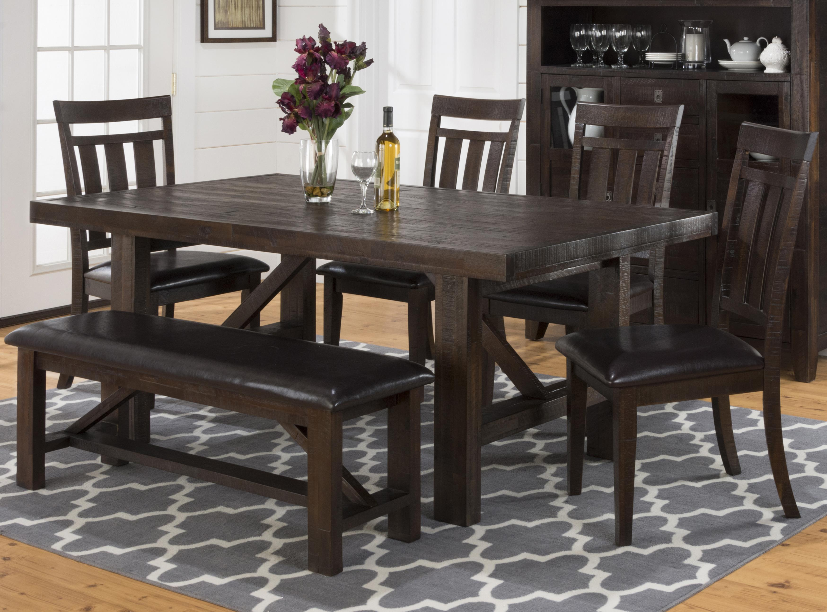 Jofran Kona Grove Dining Table, Chair And Bench Set   Item Number: 705