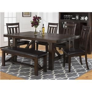 Jofran Kona Grove Dining Table & 4 Side Chairs(Bench not inclu