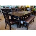 Jofran Kona Grove Dining Table & 6 Upholstered Side Chairs (Bench not included)