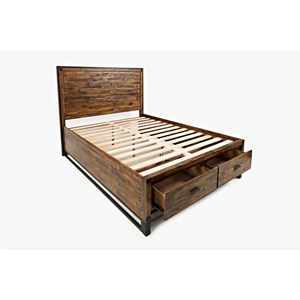 Jofran Loftworks Queen Size Bed with 2 Storage Drawers