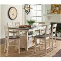 Jofran Madison County Pub Table & 6 Barstools - Item Number: 1706-72BT+6XBS401KD