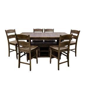 Jofran Madison County Barnwood Hi/Low Table & 6 Ladderback Counter