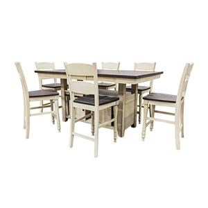 Jofran Madison County Vintage White Hi/Low Table & 6 Ladderback Co