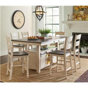 Vintage White Hi/Low Table & 6 Ladderback Co