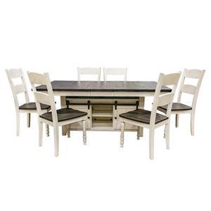 Vintage White Hi/Low Table & 6 Ladderback