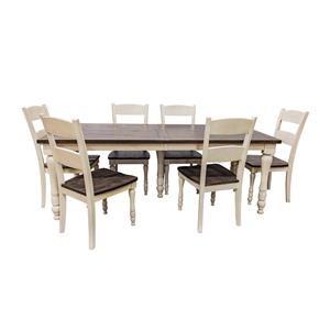 Vintage White Rectangular Table & 6 Ladderba