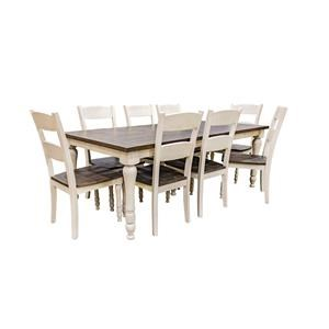 Vintage White Rectangular Table & 8 Ladderba