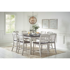 Jofran Orchard Park Counter Height Table w/ 6 Chairs & Bench