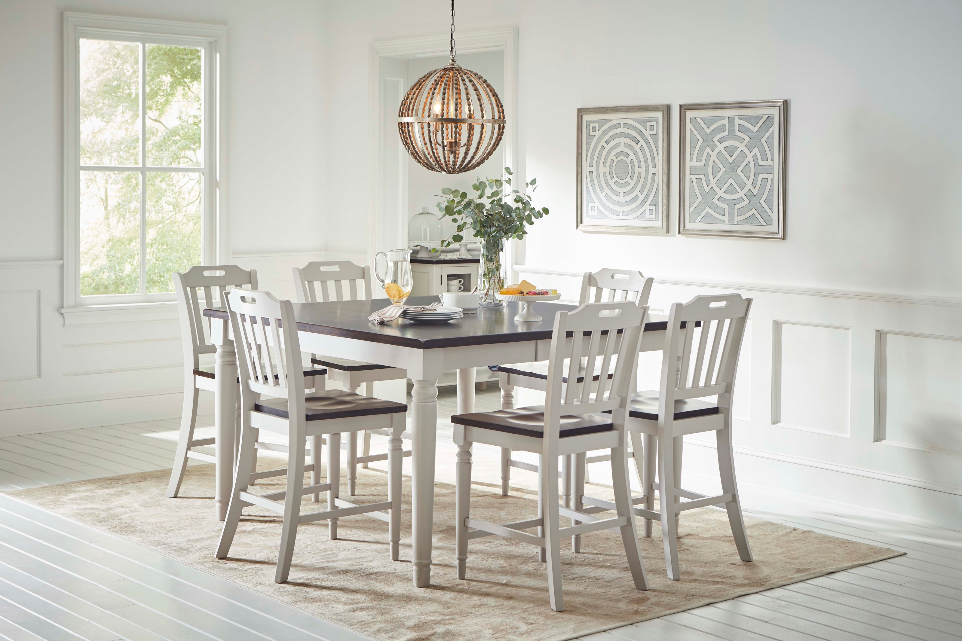 Jofran Orchard Park Counter Height Dining Table With 8 Chairs | A1 Furniture & Mattress | Dining 7 (or More) Piece Sets