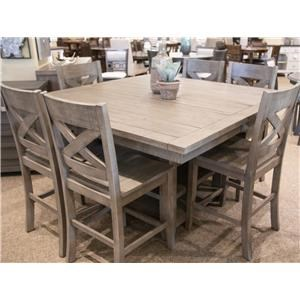 Hi/Low Storage Table & 6 Counter Stools