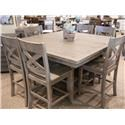 Jofran Outer Banks Hi/Low Storage Table & 6 Counter Stools - Item Number: GRP-1841-COUNTERTBL 6