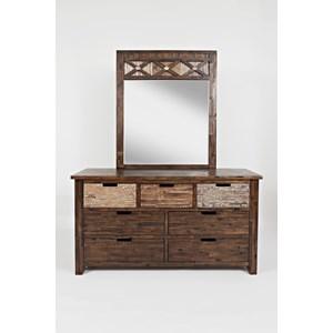 Jofran Painted Canyon Dresser & Mirror